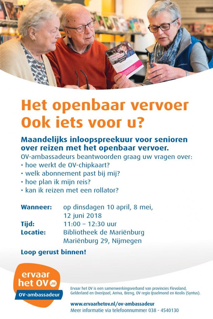 12 juni Inloopspreekuur Openbaar vervoer voor senioren