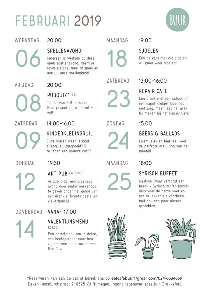 Kalender BUUR februari