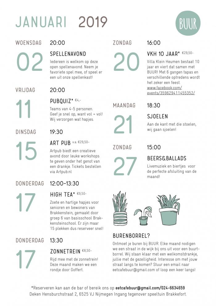 Kalender BUUR januari